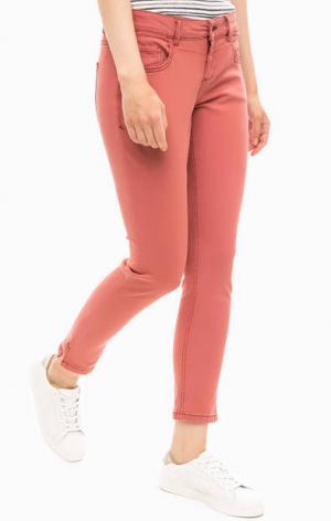 Укороченные хлопковые брюки s.Oliver. Цвет: коралловый