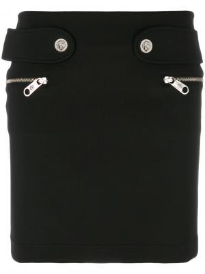 Юбка мини с карманами на молнии Versus. Цвет: чёрный