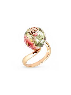 Кольцо Японские цветы. Цвет: золотистый, серебристый