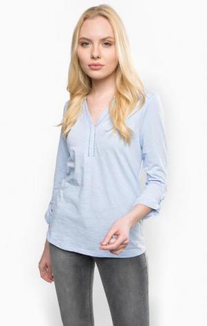 Блуза из хлопка olsen. Цвет: голубой