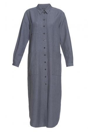 Платье из хлопка и льна 187007 Cyrille Gassiline. Цвет: серый