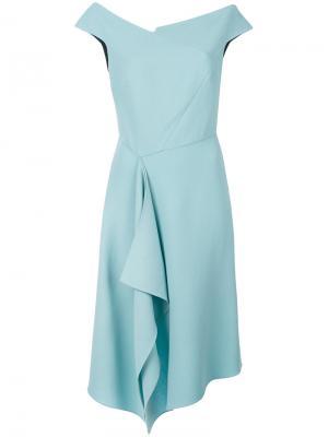 Асимметричное драпированное платье Roland Mouret. Цвет: синий