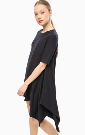 Короткое платье асимметричного кроя THINK CHIC. Цвет: синий