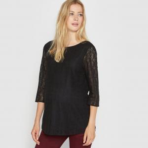 Блузка для периода беременности кружевная La Redoute Collections. Цвет: черный,экрю