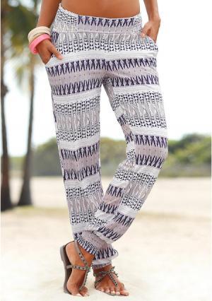 Пляжные брюки Lascana. Цвет: песочный/лиловый