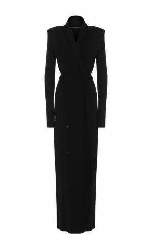 Шелковое платье-миди с V-образным вырезом и поясом Alexander Terekhov. Цвет: черный