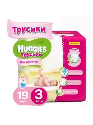 Подгузники-трусики Размер 3 7-11кг 19 шт для девочек HUGGIES. Цвет: розовый