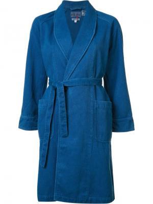 Пальто с шалевым воротником Blue Japan. Цвет: синий