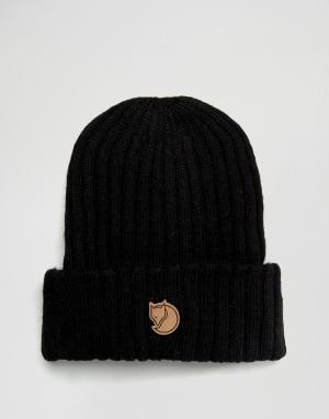 Fjallraven Черная шерстяная шапка-бини Byron. Цвет: черный
