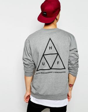 HUF Свитшот с тремя треугольниками. Цвет: серый
