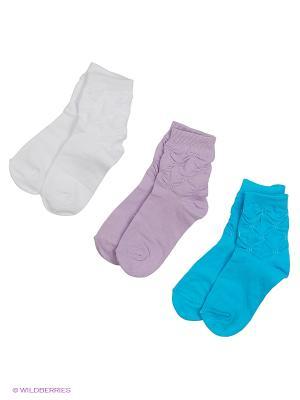Носки, 3 пары Гамма. Цвет: белый, голубой, сиреневый