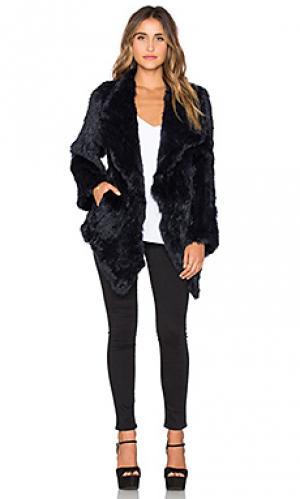 Меховое пальто cascade Jennifer Kate. Цвет: синий