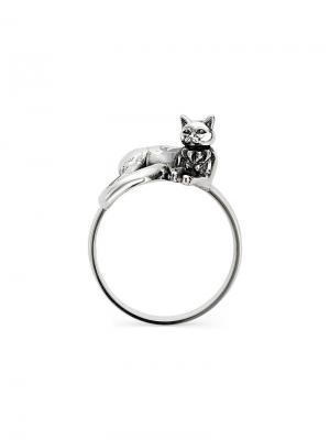 Кольцо с Котом KU&KU. Цвет: серебристый