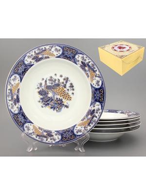 Набор суповых тарелок Павлин синий Elan Gallery. Цвет: белый, синий