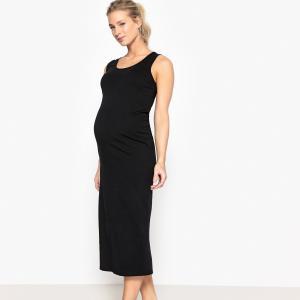 Платье длинное трикотажное для периода беременности La Redoute Collections. Цвет: черный