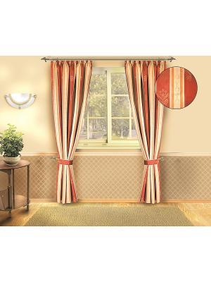 Комплект штор ZLATA KORUNKA. Цвет: терракотовый, бежевый, золотистый
