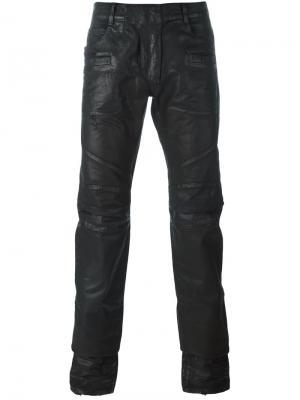 Вощеные брюки Balmain. Цвет: чёрный