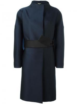 Пальто с воротником-воронкой и поясом Paule Ka. Цвет: синий