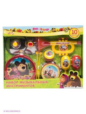 Набор музыкальных инструментов Маша и медведь Играем вместе. Цвет: желтый, красный