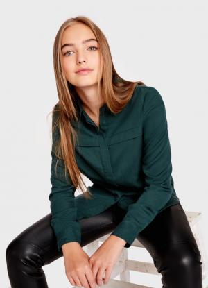 Блузка из тенселя OSTIN. Цвет: темно-зеленый