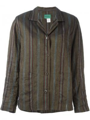 Куртка в полоску Kenzo Vintage. Цвет: зелёный