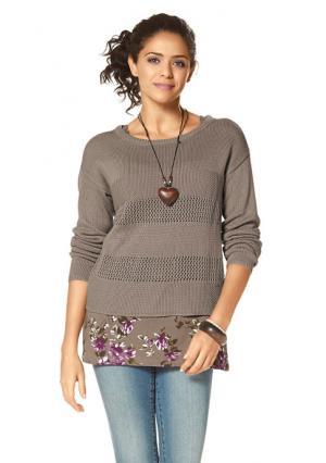 Пуловер BOYSENS BOYSEN'S. Цвет: красный, серо-коричневый, черный