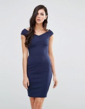 Lipstick Boutique Платье-футляр с широким вырезом. Цвет: темно-синий