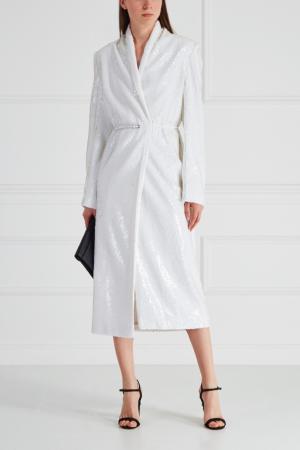 Пальто с пайетками Alexander Terekhov. Цвет: белый