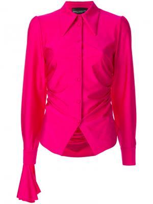 Присборенная рубашка с большими манжетами Erika Cavallini. Цвет: розовый и фиолетовый