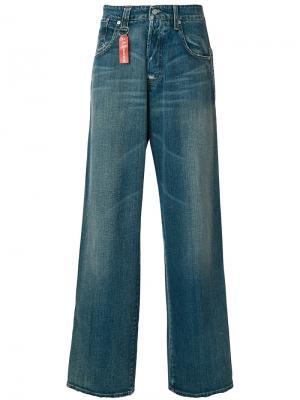 Широкие джинсы Armani Jeans. Цвет: синий