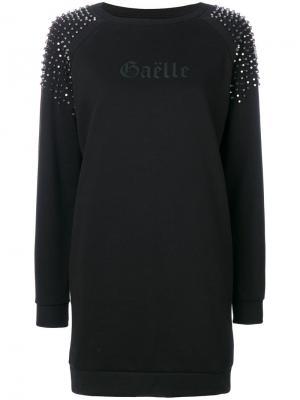 Платье-футболка с заклепками Gaelle Bonheur. Цвет: чёрный