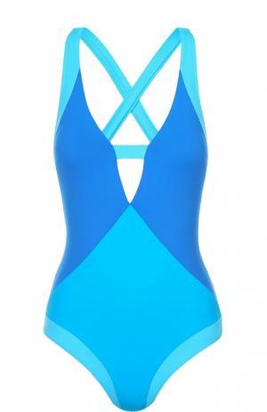 Слитный купальник с контрастной отделкой и открытой спиной NATAYAKIM. Цвет: синий