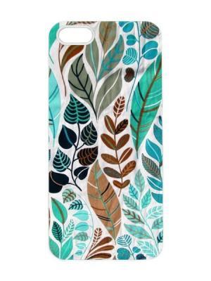 Чехол для iPhone 5/5s Листья бирюзовые Арт. IP5-088 Chocopony. Цвет: белый, черный, голубой