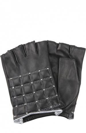 Кожаные перчатки с обрезанными пальцами и заклепками Agnelle. Цвет: серебряный