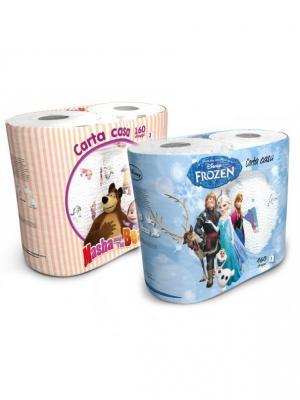 Набор из 4х бумажных полотенец Маша и Медведь Холодное Сердце 3-х слойные, 4 рул/80 л World Cart. Цвет: белый