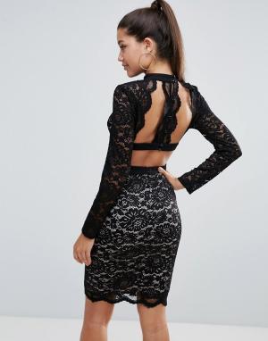 Love Triangle Кружевное платье-футляр. Цвет: черный