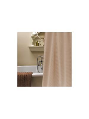 Штора для ванной комнаты 178х180см  светло-коричневая, полиэстер NIKLEN. Цвет: светло-коричневый