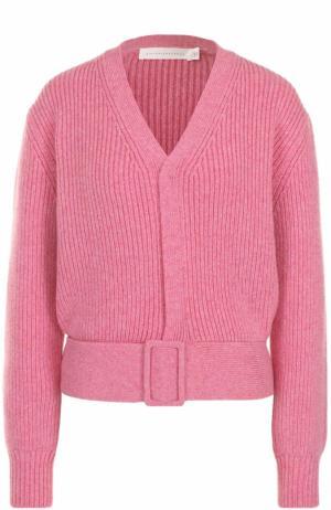 Укороченный кардиган фактурной вязки Victoria Beckham. Цвет: розовый