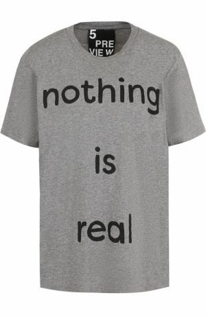 Хлопковая футболка с круглым вырезом и принтом 5PREVIEW. Цвет: серый