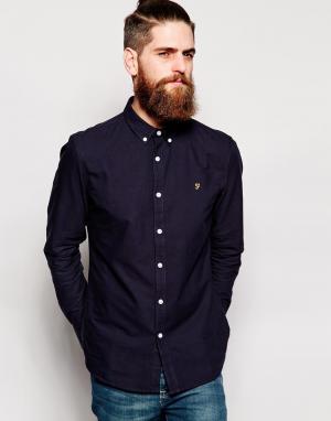 Farah Темно-синяя оксфордская рубашка слим Brewer. Цвет: синий