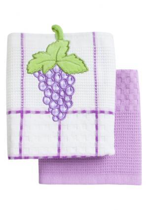 Набор вафельных полотенец (2 шт.) BONITA. Цвет: белый (белый, фиолетовый)
