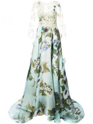 Вечернее платье с кружевной вставкой Marchesa. Цвет: синий