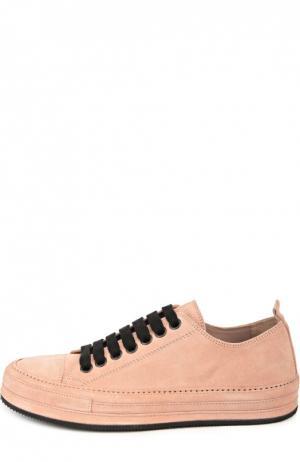 Замшевые кеды на шнуровке Ann Demeulemeester. Цвет: розовый