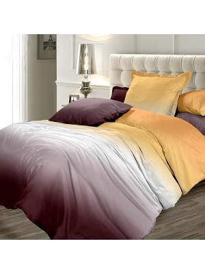 Постельное белье Унисон. Цвет: коричневый, желтый