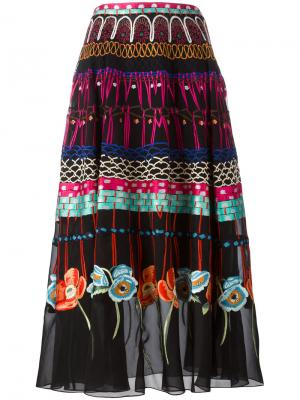 Плиссированная юбка с цветочным узором Temperley London. Цвет: многоцветный
