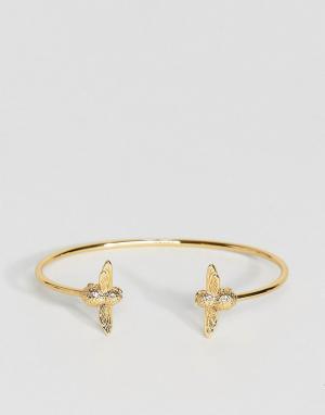 Olivia Burton Золотистый браслет с двумя литыми пчелами. Цвет: золотой