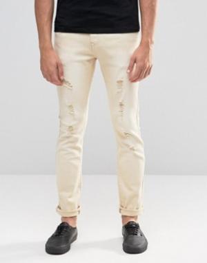 Always Rare Зауженные джинсы с заплатками. Цвет: бежевый