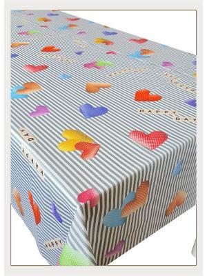 Скатерть с фотопринтом Счастливый день, 110x150 см Ambesonne. Цвет: серый, бежевый, белый, голубой, желтый, красный, оранжевый, розовый, салатовый, синий