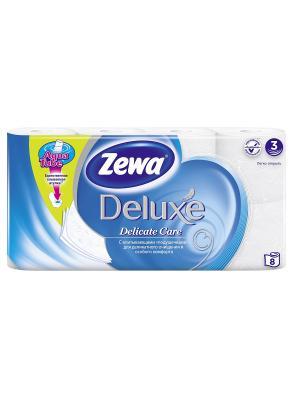 Туалетная бумага Zewa Deluxe Белая, 3 слоя, 8 рулонов. Цвет: молочный