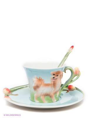 Чайная пара Собака Pavone. Цвет: голубой, светло-зеленый, коричневый